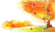 秋天故事插画之靠在枫树下熟睡的小精灵