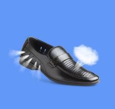 透气黑色皮鞋图片