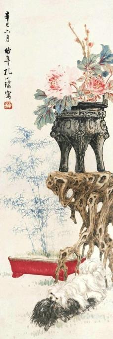 双犬博古牡丹图图片