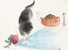 猫戏蚕蛾图片