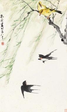 双燕两鹂图片
