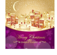 圣诞黄金城市背景矢量图片