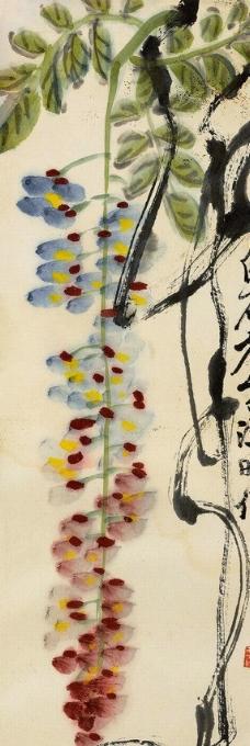 紫藤花架手绘画