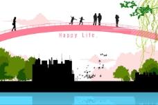 在桥上欣赏风景的人物剪影矢量素材