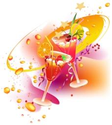 炫彩水果饮料矢量图