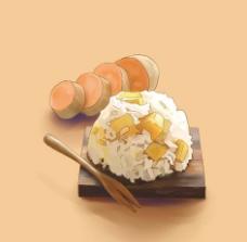 手绘山芋饭图片