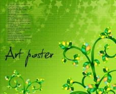 绿色春天星星底纹背景图