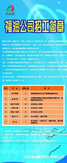 福润公司招工简章展板图片
