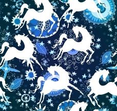 骏马花纹图片