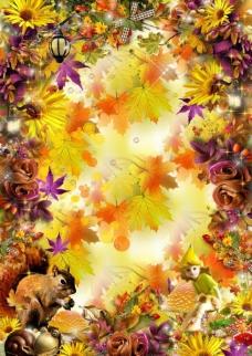 金色的秋天背景模板图片