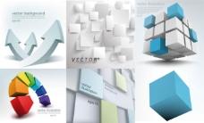 3D立体元素与背景矢量素材