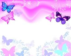 时尚花卉花纹蝴蝶背景图片