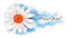 花朵月蓝色水彩画背景