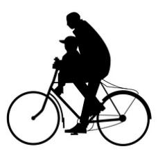 父爱 父亲儿子自行车 背影 剪影