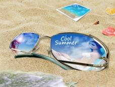 沙滩墨镜素材图片