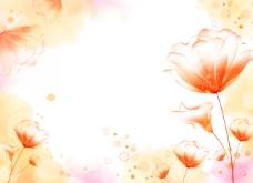 橙色花朵渐变梦幻背景