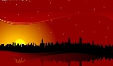 夕阳 城市建筑 剪影图片