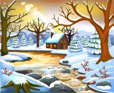 圣诞节雪景 雪晴矢量素材