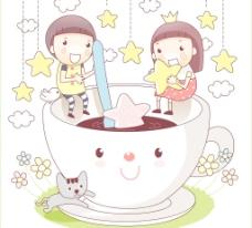 孩子坐在杯边沿泡咖啡图片