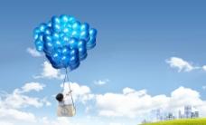 天空气球图片