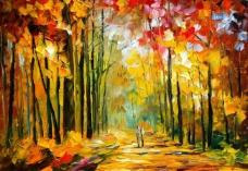 油画 秋天的阳光图片
