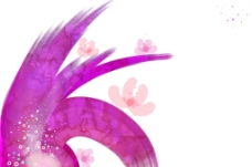 玫色花紋水墨畫圖片