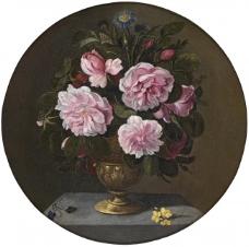 Camprobin, Pedro - Jarron de bronce con rosas, 17 Century花卉水果蔬菜器皿静物印象画派写实主义油画装饰画