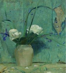 Daniel Garber - Peonies, 1922花卉水果蔬菜器皿静物印象画派写实主义油画装饰画