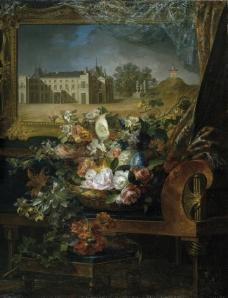 Parra Miguel  Cesta de flores y vista del Palacio Real de Valencia 1844花卉水果蔬菜器皿静物印象画派写实主义油画装饰画