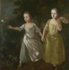 托马斯 画家的女儿追逐蝴蝶图片