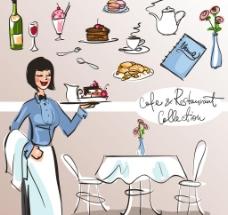 手绘餐厅服务员图片