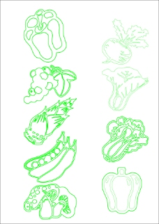 绿色蔬菜白描矢量素材