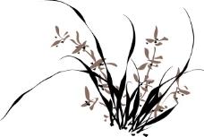 矢量国画手绘兰花