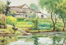 乡村水彩图片