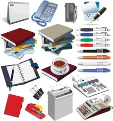 矢量办公用品咖啡电话笔笔记本