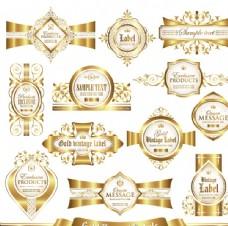 欧式金色标签贴纸